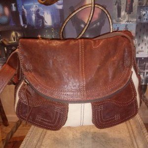 LUCKY BRAND leather and canvas shoulder bag